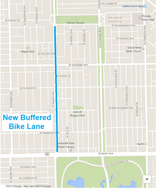 Kedzie Buffered Lane Map