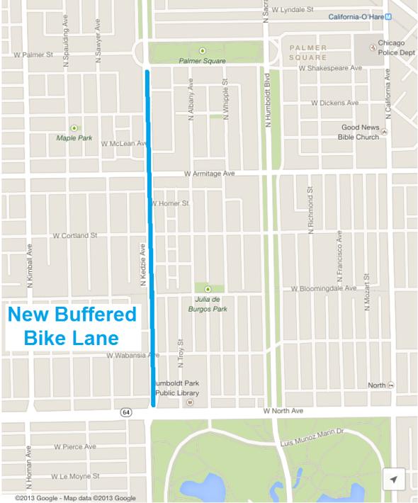 Kedzie Buffered Lane Map